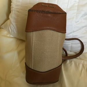 Miu Miu Bags - Miu Miu Vintage Hemp & Leather Turn-Lock Bag